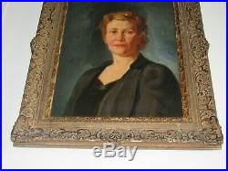 06f6 Ancienne Peinture Hst Portrait De Femme Signe Gustave Donnet 1892 1973