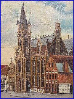 08d16 Peinture Hst Ancien Tableau Dixmude Yser Belgique Signe Stadius Date 1916
