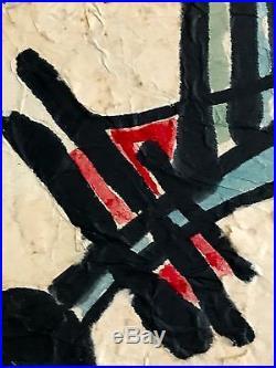 1980 RENE PEINTURE ART-DECO MODERNISTE CUBISTE ABSTRACTION FORME-LIBRE Pollock
