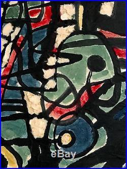1980 rene peinture art deco moderniste cubiste abstraction forme libre pollock peinture sur toile. Black Bedroom Furniture Sets. Home Design Ideas