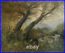 2960 école de barbizon huile sur toile forêt, signé henry, toile ancienne