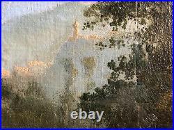 ANCIENNE PEINTURE HUILE SUR TOILE SCENE PAYSANNE RETOUR DES CHAMPS 19th