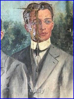 ANCIEN PORTRAIT DE FAMILLE FRATRIE HUILE SUR TOILE VERS 1930 20th art deco hst