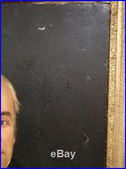ANCIEN PORTRAIT D'HOMME A LA LEGION D'HONNEUR peinture école française XIXeme