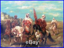ARTAS Ecole orientaliste XXème Cavaliers arabes au porte drapeau HST