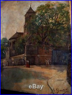 A. CHARTON. Peinture sur Toile. Eglise Saint PIERRE de MONTMARTRE