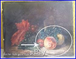 A DUPONT 1891 NATURE MORTE AUX RAISINS ET PECHES HUILE SUR TOILE XIXe