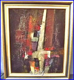 Abstraction. Huile / toile 1991 signé Bernard LACROIX. 1933-2015. Cadre 67x57cm