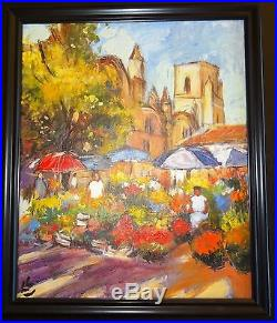 Acrylique Sur Toile Claude Carvin 1956 Marche Aux Fleurs En Provence