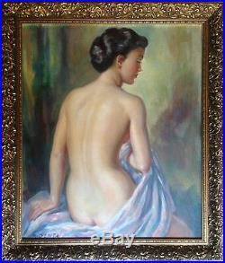 Albert GENTA (1901-1989) impressionniste Nu Féminin de dos Huile sur toile signé