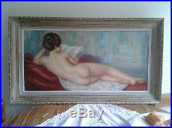 Albert GENTA XXème NU de dos allongé et lisant huile sur toile, période 1