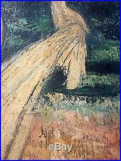 Alice Colonieu (Française, 1924-2010) Ancien Tableau Peinture Huile Original