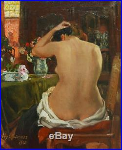 Aloys HUGONNET peintre suisse Lausanne tableau huile nu femme nue intérieur