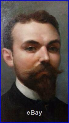 Alphonse PELLET (1853-1926) GRAND PORTRAIT OU AUTOPORTRAIT SIGNÉ