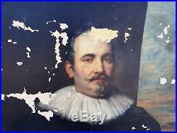 Ancien Grand Tableau peinture HST gentilhomme portrait personnage Oil painting