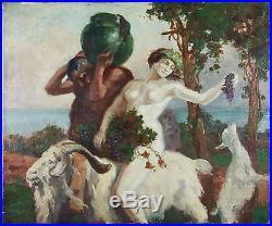 Ancien Tableau Bacchante Peinture Huile Antique Oil Painting