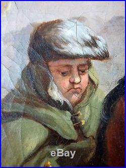 Ancien Tableau Chasse à l'Ours Peinture Huile Antique Oil Painting