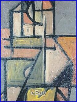 Ancien Tableau Composition Cubiste Peinture Huile Antique Oil Painting Dipinto