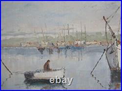 Ancien Tableau De Marcel Catelein Peinture Huile Marine/voilier/barque/pecheur