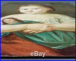 Ancien Tableau Enfant à la Poupée Peinture Huile Antique Oil Painting Dipinto
