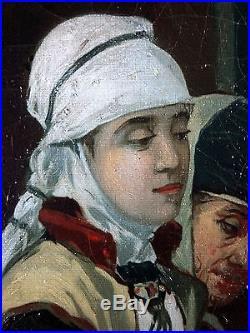 Ancien Tableau François Dumont (1850) Peinture Huile Antique Oil Painting