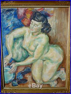 Ancien Tableau Huile Sur Toile Femme Nue Nu Encadree
