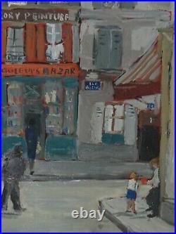 Ancien Tableau Huile Toile Rue Berthe Montmartre Signe Mireille Monod
