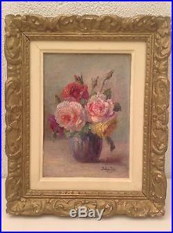 Ancien Tableau Impressionnisme Bouquet de Roses Huile Toile signée Babay Soler