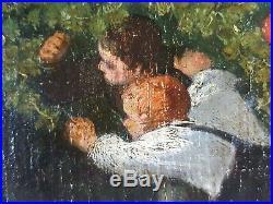 Ancien Tableau Jeux dans la Forêt Peinture Huile Antique Painting Old Dipinto