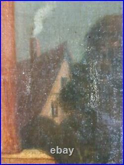 Ancien Tableau La Conversation Peinture Huile Antique Oil Painting Ölgemälde