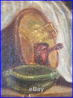 Ancien Tableau La Lessive Peinture Huile Toile Antique Oil Painting Ölgemälde