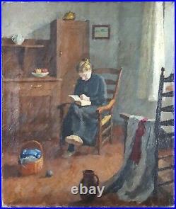 Ancien Tableau La Liseuse Peinture Huile Toile Antique Oil Painting Dipinto