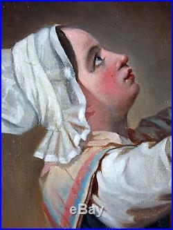 Ancien Tableau La Statue de la Vierge Marie Peinture Huile Antique Painting