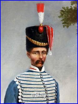 Ancien Tableau Le Hussard Peinture Huile Antique Oil Painting