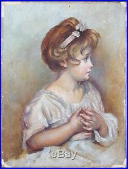 Ancien Tableau Portrait de Fillette Peinture Huile Antique Oil Painting