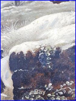 Ancien Tableau Prière dans la Neige Peinture Huile Antique Oil Painting