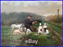 Ancien Tableau Scène De Chasse Peinture Huile Antique Oil Painting