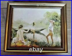 Ancien Tableau toile peinture à l'huile signée Palmes Nue femme au lac étang