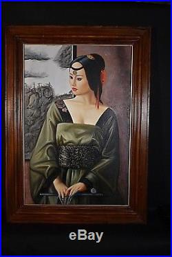 Ancien grand tableau HT femme chinoise ongles Asie signé XXe