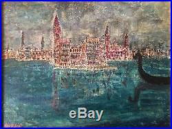 Ancien tableau Marine à Venise Gondole Huile sur toile