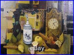 Ancien tableau Nature Morte à l'horloge signé Robert Vernet-Bonfort Still life