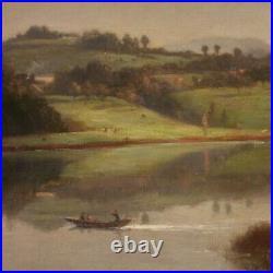 Ancien tableau paysage peinture huile sur toile signé 800 19ème siècle cadre