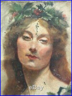 Ancien tableau peinture sur toile a restaurer portrait de femme symboliste 1900