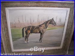 Ancienne Huile représentant un cheval signé course de chevaux superbe