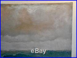 Ancienne Peinture Huile Sur Toile Signée Yule 1894 Marine Voiliers Mer Orage