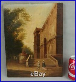 Ancienne peinture huile sur toile 19ème architecture vue optique personnages