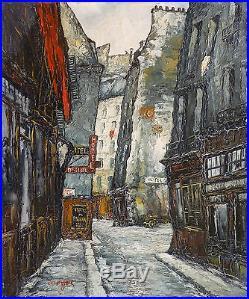 André BOYER (1909-1981) HsT Expressionnisme Ecole de Paris Rue du Pélican 1956