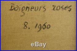 André Cottavoz Huile sur toile marouflée datée 1960 Baigneurs roses. V892