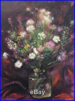 Antoine Serra(1908-1995). Bouquet de fleurs. Huile sur toile datée 86. V285