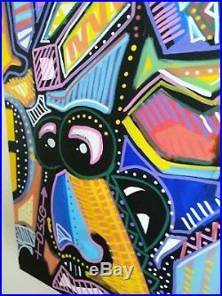 Artiste Denis OSSO Street-ART singulier moderne sur toile enchâssée 50X70CM 3D